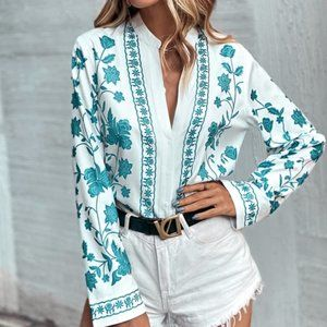 Boho White Blue Floral Button up Notched Neck Top